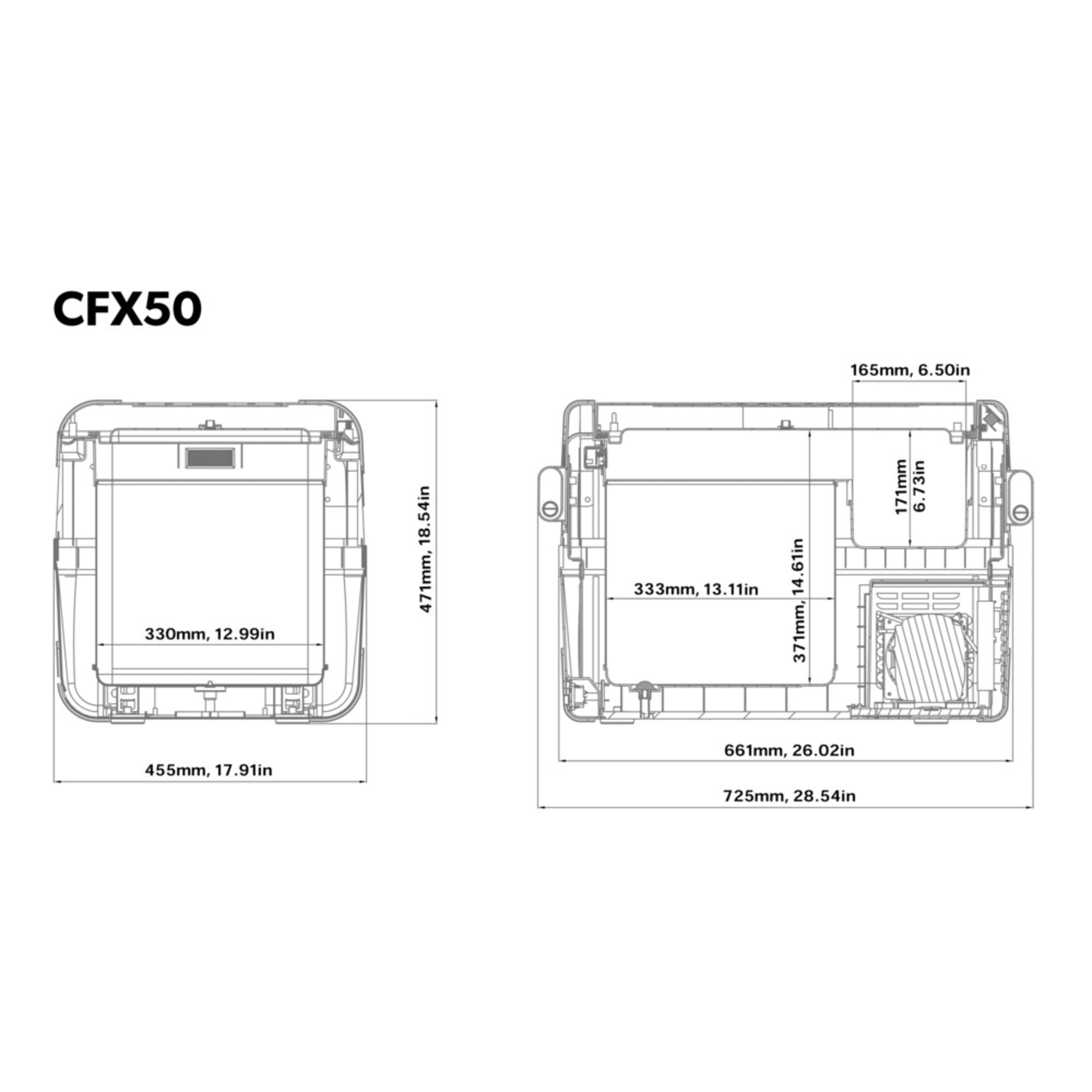 hight resolution of cfx 50w dimensions