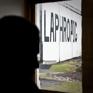 Laphroaig Visitor Centre. View to seaside Logo.