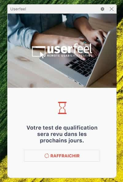 Userfeel : attente résultat qualification