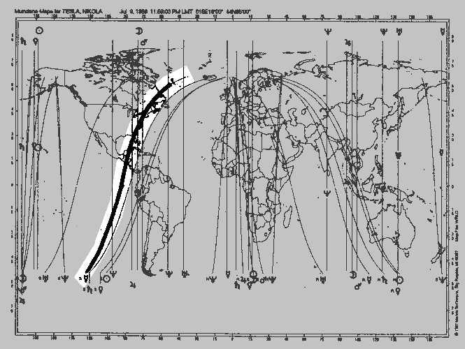Astrocartography of Nikola Tesla's Least-aspected Mercury