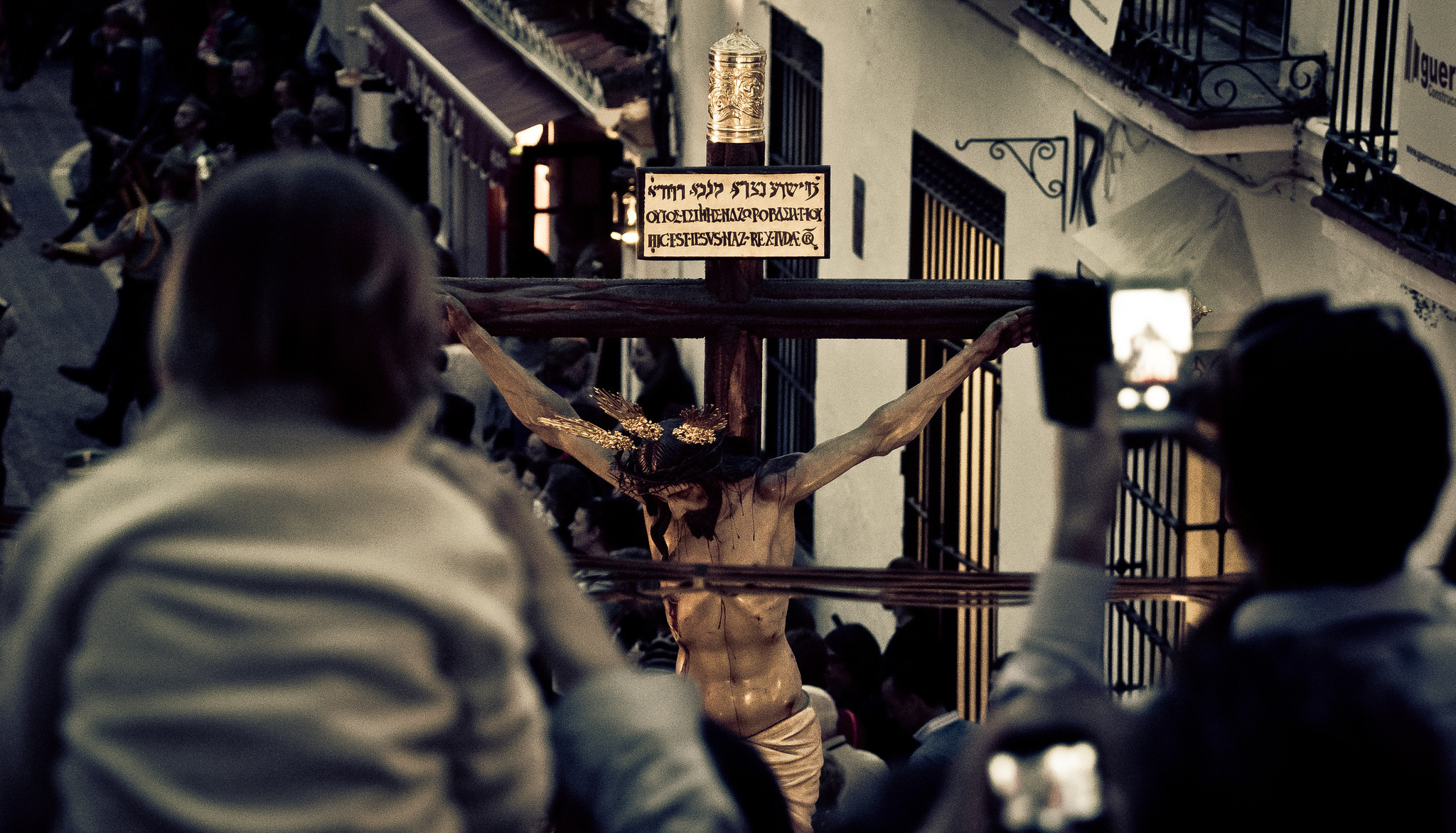 Praying before a Crucifix.