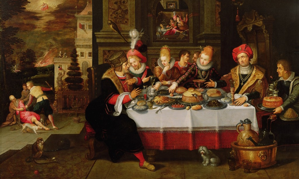 Lazarus and the Rich Man's Table (from Luke XVI) by Kasper or Gaspar van den Hoecke