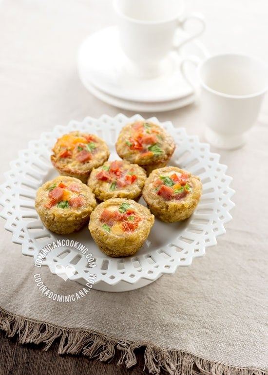 Mangú (Plantain) Breakfast Bites Recipe: Based on our most popular breakfast dish, we've made these cute bites perfect to serve at a buffet. I love them!