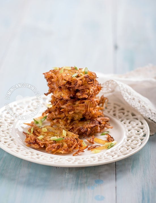 Plantain and Onion Fritters - Recipe & Video: These crispy plantain and onion fritters will be one of your new favorites. Easy, and perfect nearly every occasion.