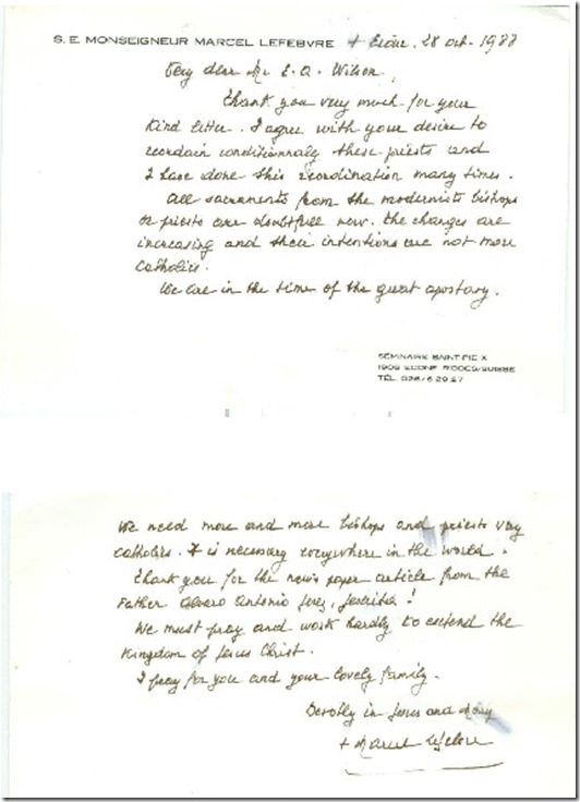 Handwritten Letter from Arch Lefebvre - necessary to conditionally ordain