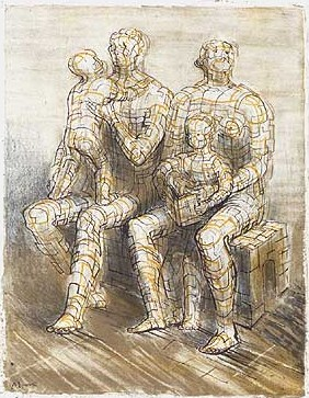 Family Group Signed  by Henry Moore