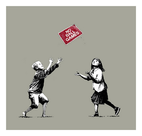 No Ball Games (Grey) Signed  by  Banksy