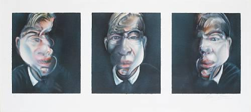 Three studies for a self portrait 1979 Signed  by Francis Bacon