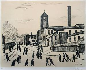 A Northern Town Signed  by L.S. Lowry