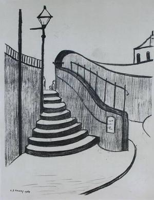 Old Steps Stockport Signed  by L.S. Lowry