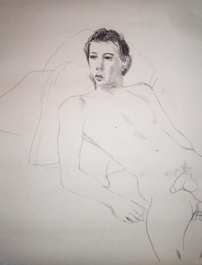 Gregory Reclining Signed  by David Hockney