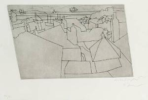 St.Ives from Trezion Signed  by Ben Nicholson