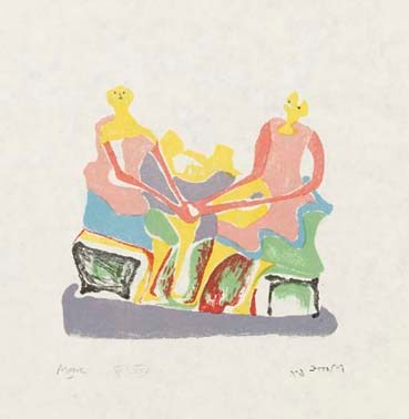 Two Seated Women Signed  by Henry Moore