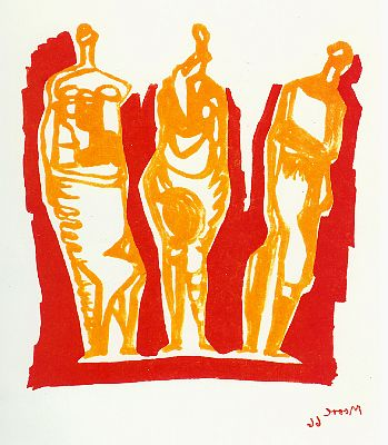 Three Standing Figures (Shelter Sketchbook) Signed  by Henry Moore