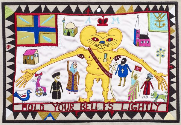 Hold Your Beliefs Lightly   (tapestry) Embroidery Signed  by Grayson Perry