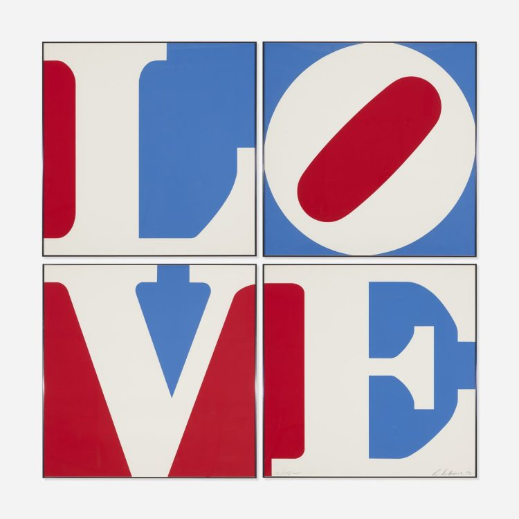 Four panel Love Signed  by Robert Indiana