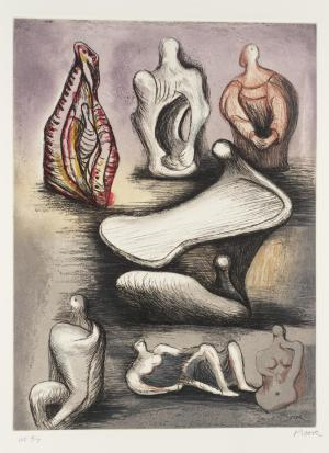 Seven Sculpture Ideas I 1980-1 by Henry Moore OM, CH 1898-1986