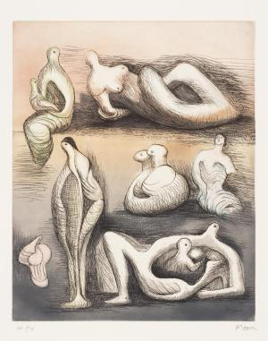 Seven Sculpture Ideas II 1980-1 by Henry Moore OM, CH 1898-1986