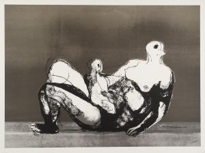 Reclining Mother and Child with Grey Background 1982, published 1983 by Henry Moore OM, CH 1898-1986