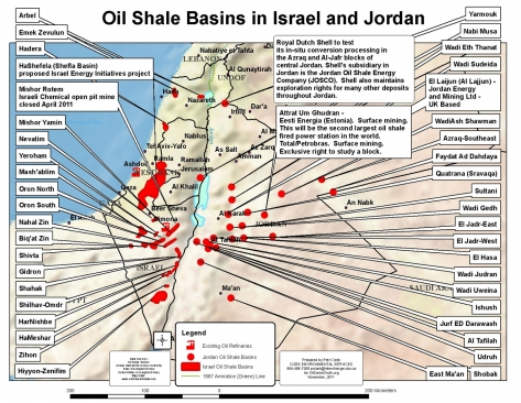 Map of oil shale basins in Israel and Jordan