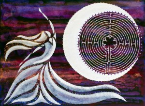 """""""Sky Dancer"""" labyrinth and moon painting"""
