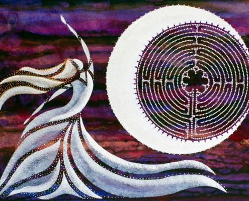 """Sky Dancer"" labyrinth and moon painting"