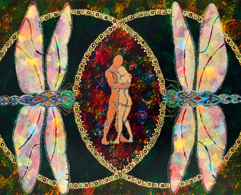Sacred Romance - Meet Me in the Middle - painting of couple in Vesica Pisces