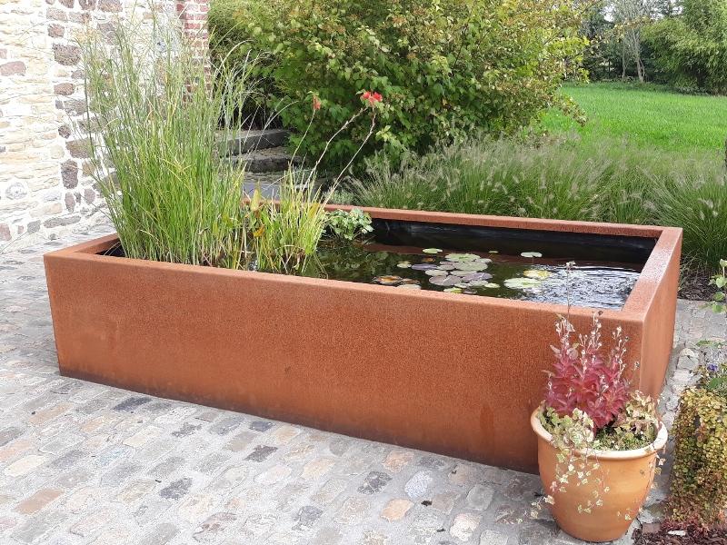 bac couvre murs bassin acier corten