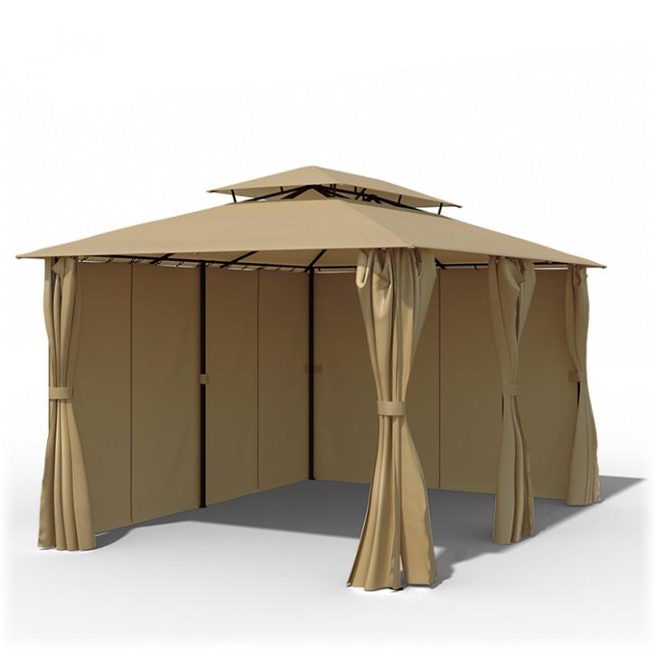 structure de tonnelle avec toit et rideaux comfort 3x4 m beige