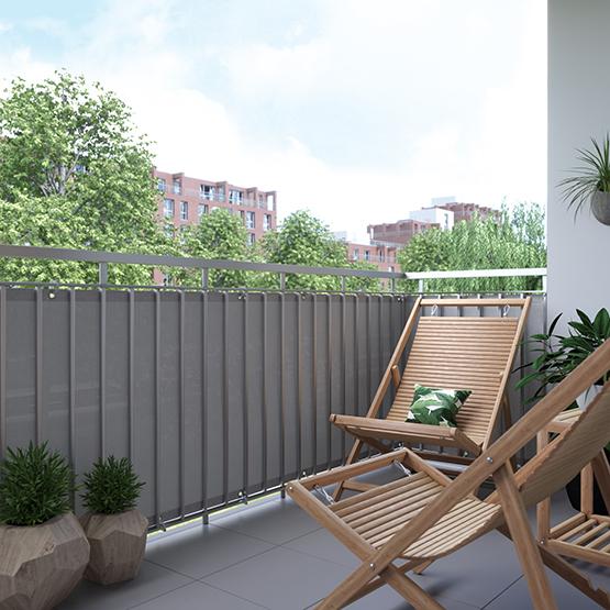 brise vue pour balcon tissu respirant ivoire 90 x 300 cm