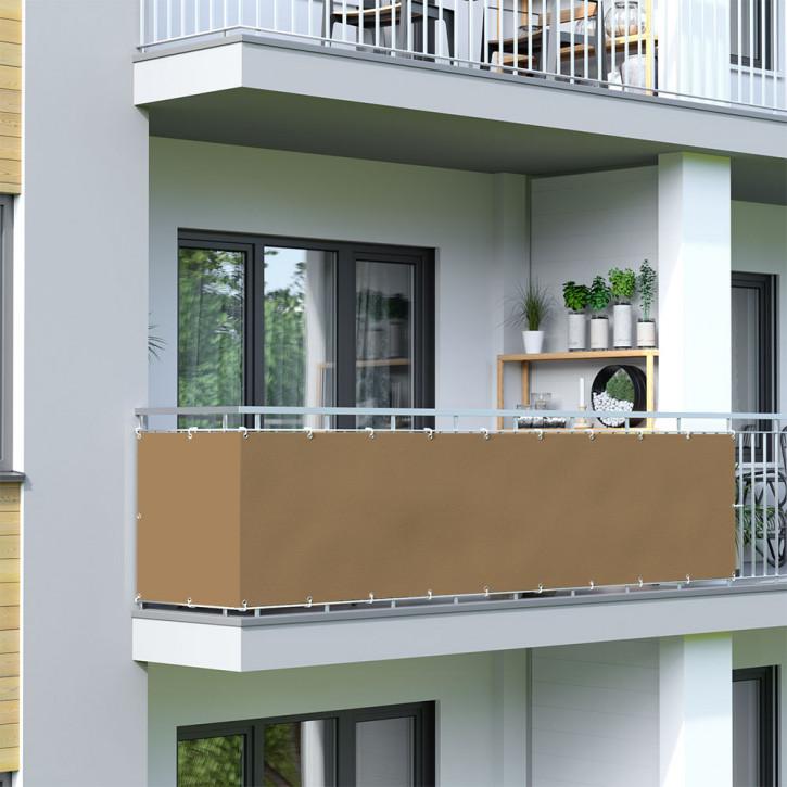 brise vue pour balcon tissu impermeable brun 90 x 300 cm