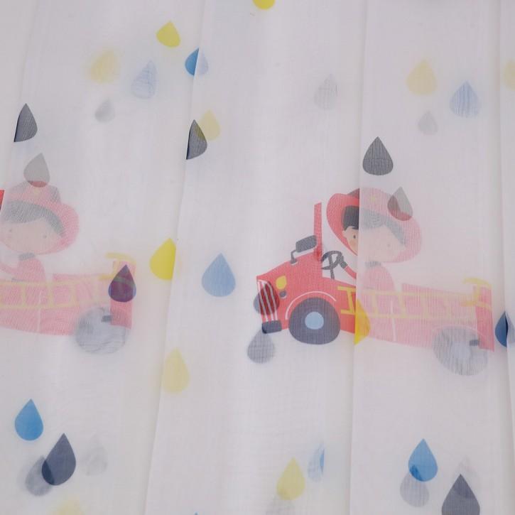 voilage a oeillets pour chambre d enfant lulu 140 x 240 cm camions de pompiers