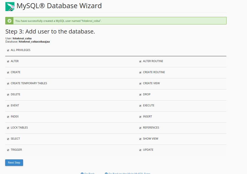 View USer Privilege dan Add user Database