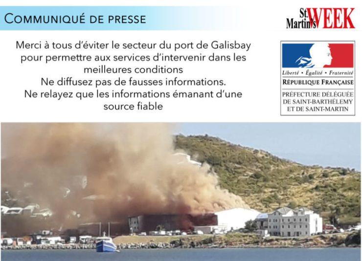 Évènement en cours : feu dans un hangar au port de Galisbay