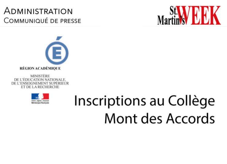 Inscriptions au Collège Mont des Accords