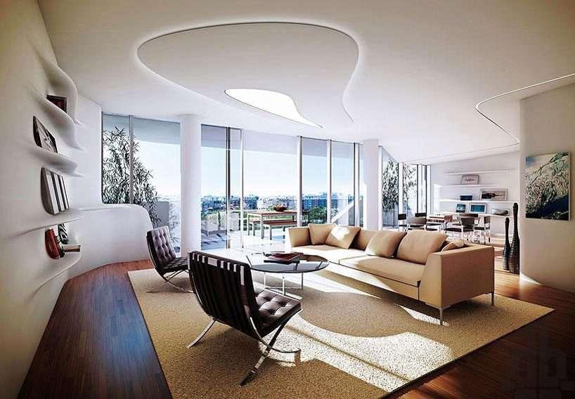 living room cu linii curbe