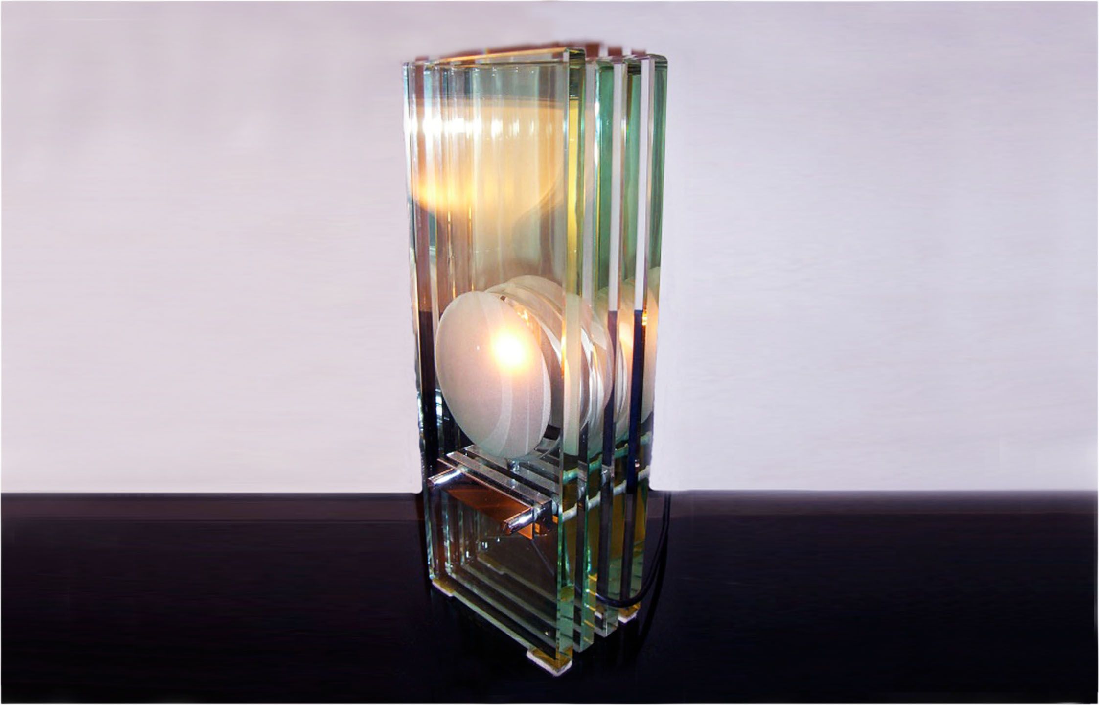 Max Ingrand for Fontana Arte 60s  crystal table lamp