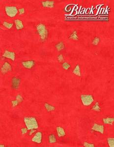 """Red with Metallic Gold Pieces -- Light Weight Mulberry Sheet -- Size: 25"""" x 37"""""""