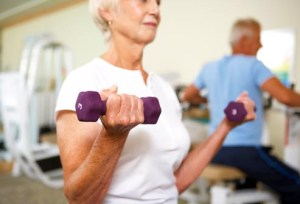 Patients assigned to maintenance pulmonary rehabilitation did arm training with weights