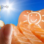 Sources of vitamin D - a pill, salmon, and sunshine