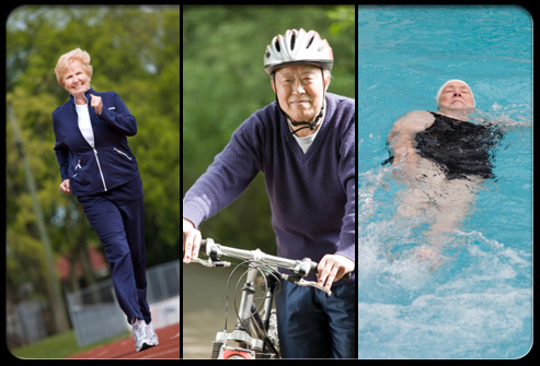 Seniors participating in physical activity such as walking, biking, and swimming
