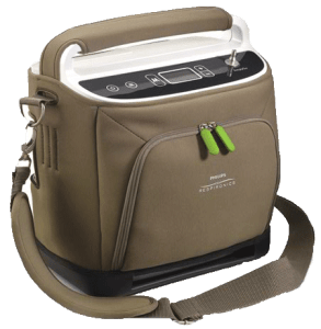 Respironics SimplyGo POC that weighs 9.5 pounds and can be carried over the shoulder.