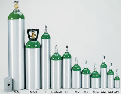 Different sizes of tanks for home oxygen use