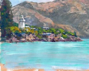Akaroa Lighthouse 8x10 acrylic