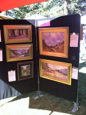 My paintings at the Saturday exhibit and silent auction.