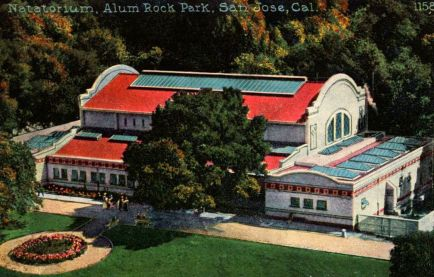 A historic photo of the Natorium in Alum Rock Park fed by the mineral springs.