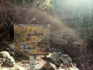 My almost finished painting along Los Trancos Creek.