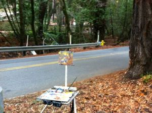 My easel along Portola Road.
