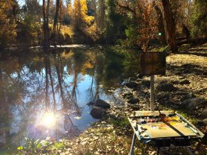 My easel painting Coyote Creek by Hellyer Park