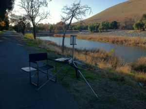 I set up the easel on the Alameda Creek bike trail